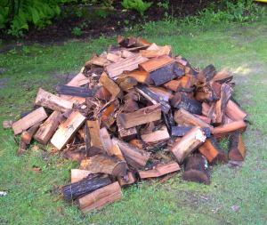 Wet wood pile