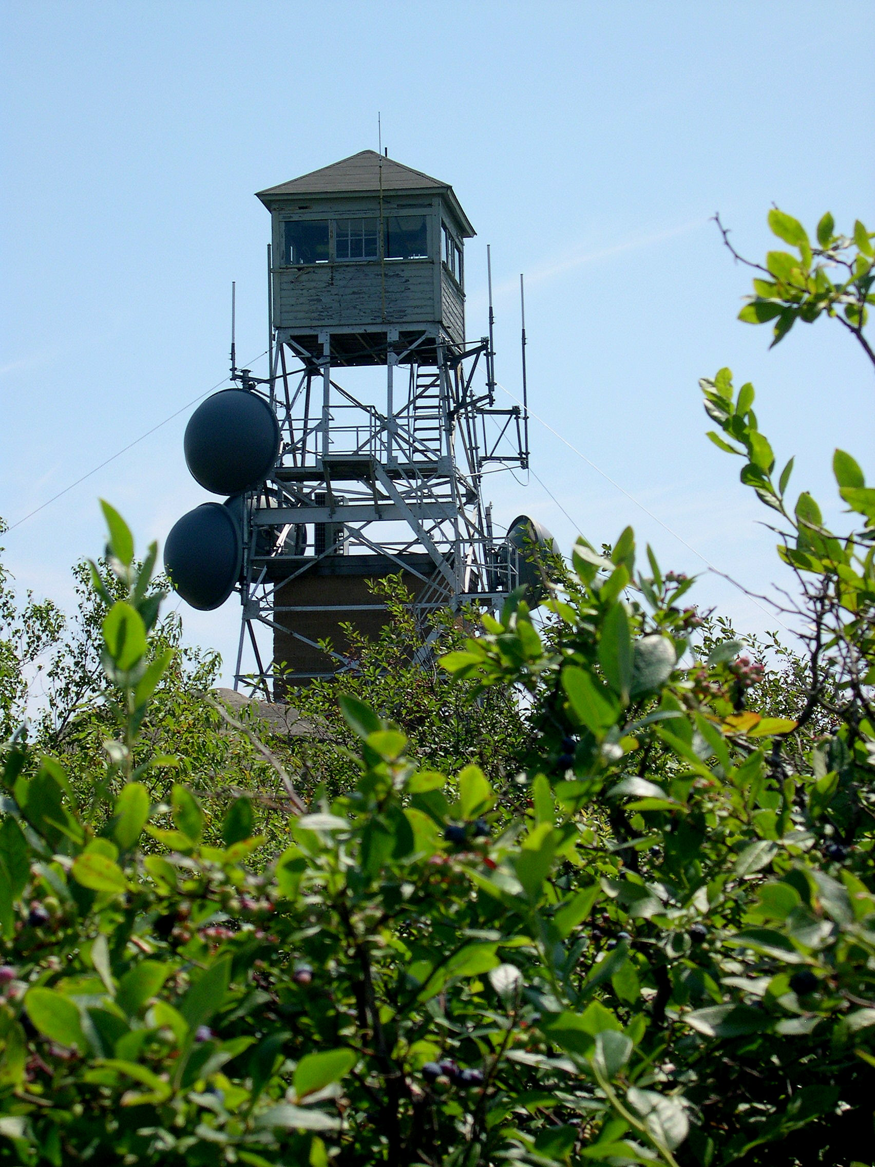Fire tower at the top of Pitcher Mountain in New Hampshire.