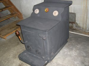 wood stove in basement
