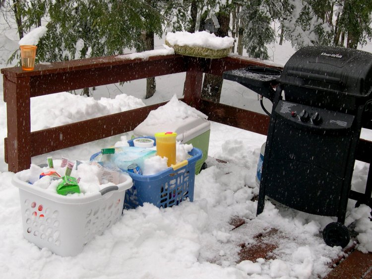 food and grill in snow