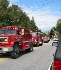 Fire trucks in a parade