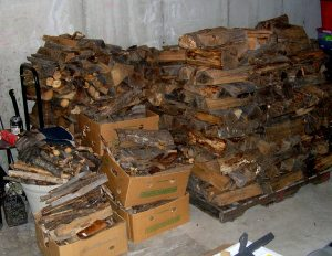 firewood stacked in basement