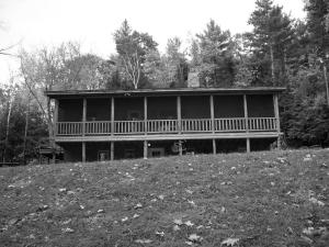 log home black and white