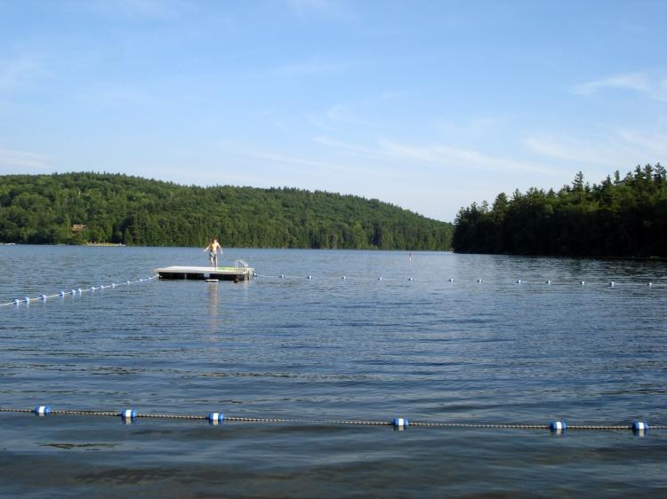 lake and raft at Gregg lake, NH