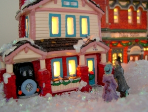 painted ceramic house in a christmas village