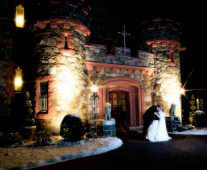 Searles Castle wedding at night