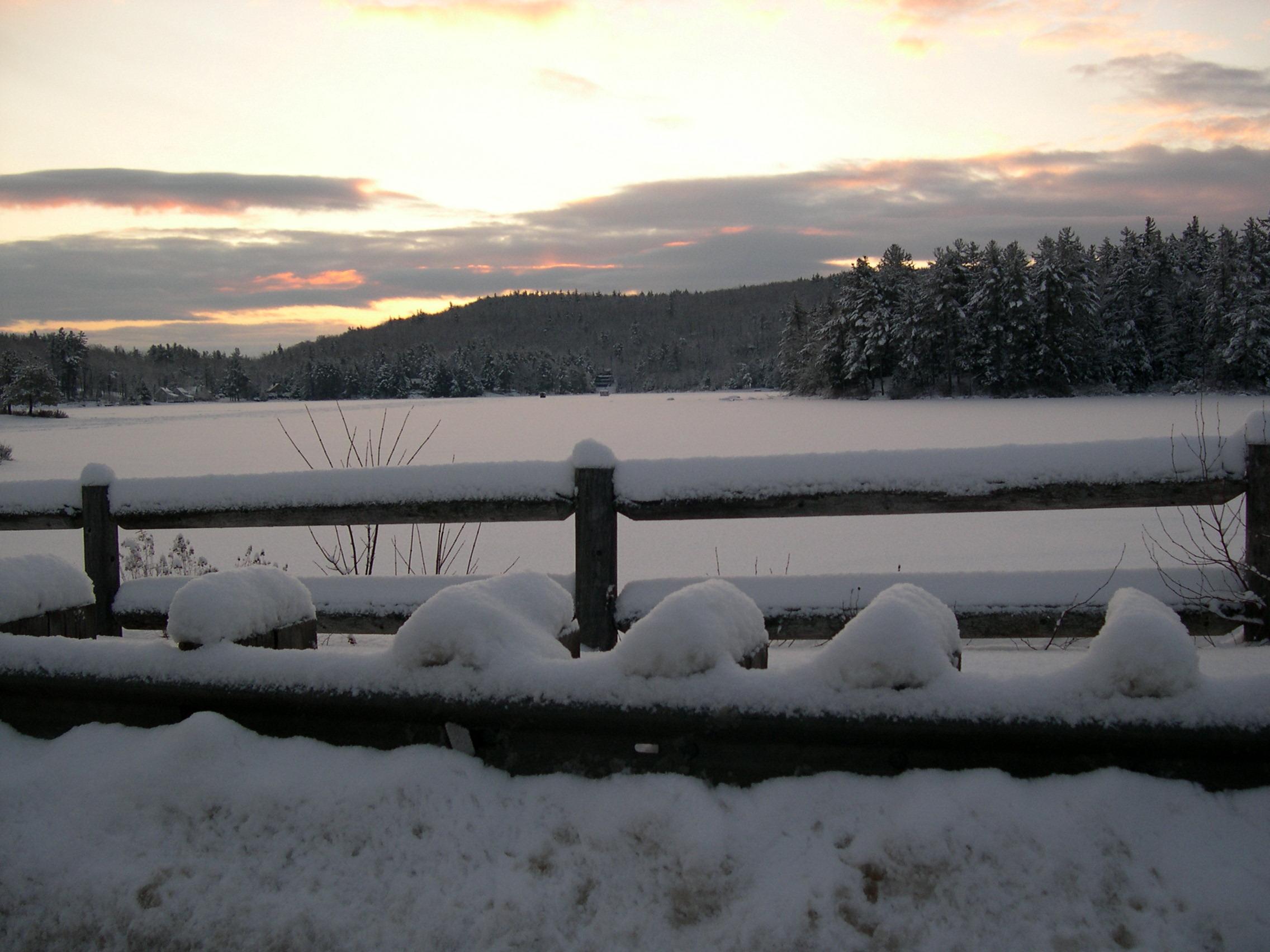 winter snow at lake