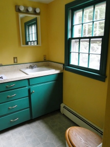green and yellow bathroom