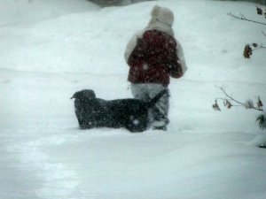 girl and dog in high snow during a storm