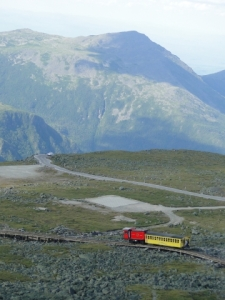 Cog railroad and mountains