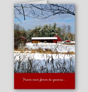 red barn in winter card