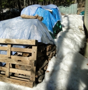 fire wood under tarps