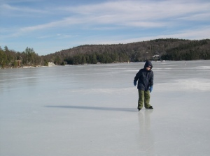 frozen lake ice skating