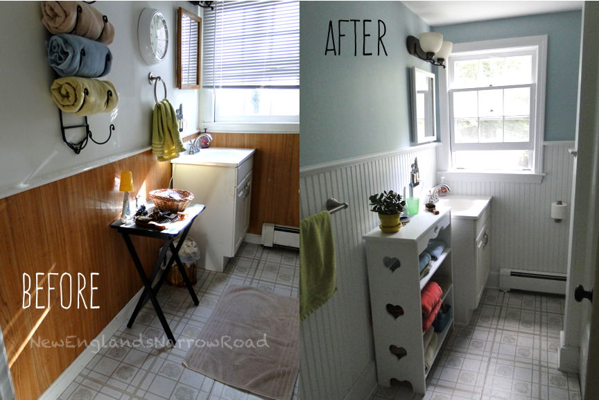 My bathroom fixer upper before and after new england 39 s - Fixer upper long narrow bathroom ...