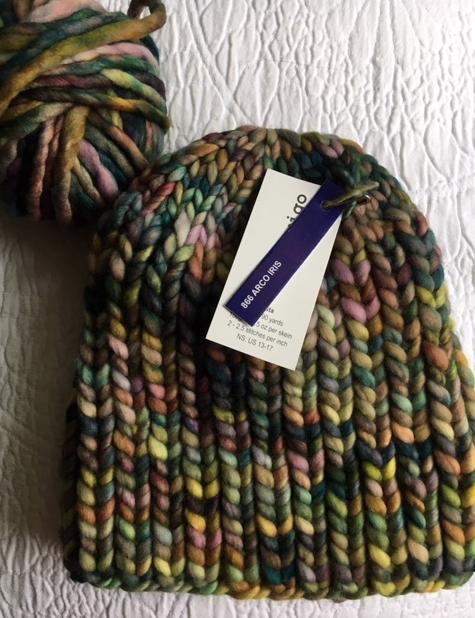 chunky knit hat in rasta