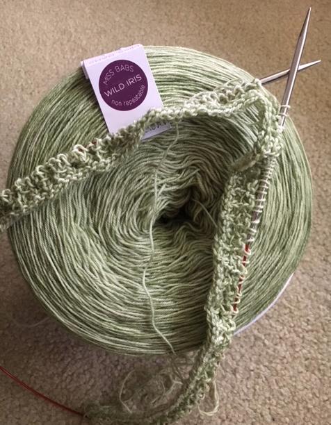 big skein of spring green yarn