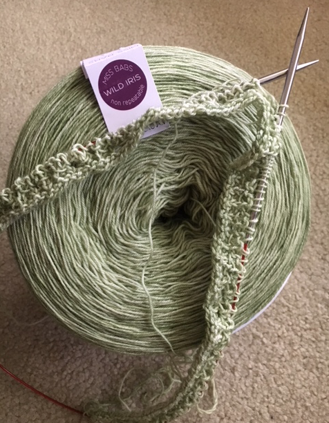 big skein of spring green yarn