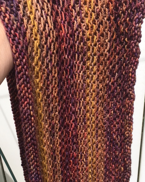 cowl in shades of brown and gold
