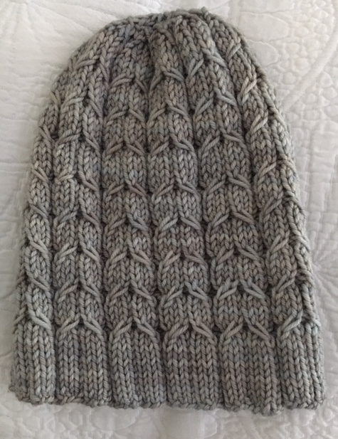 cable knit gray hat