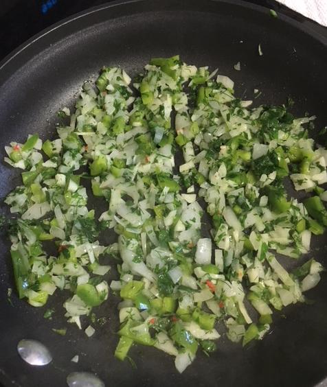 sautéing onion and pepper
