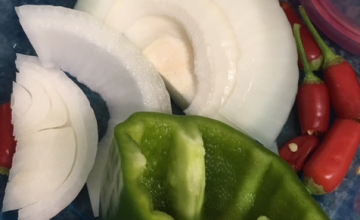onion and peppers