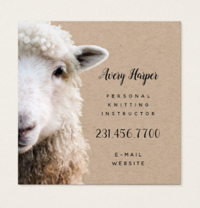 sheep yarn business card