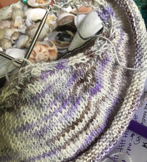 knitting a shawl