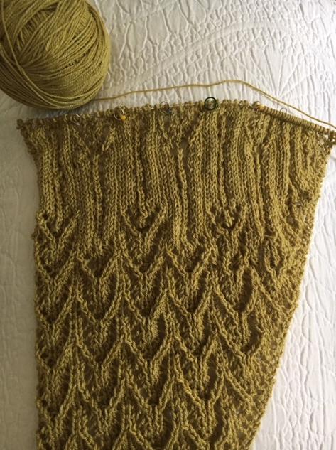 knitting a shawl
