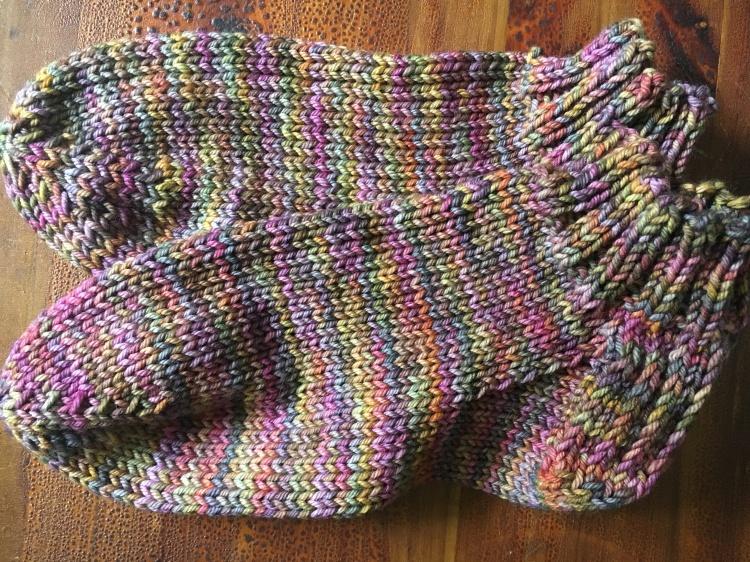 pair of hand-knit socks