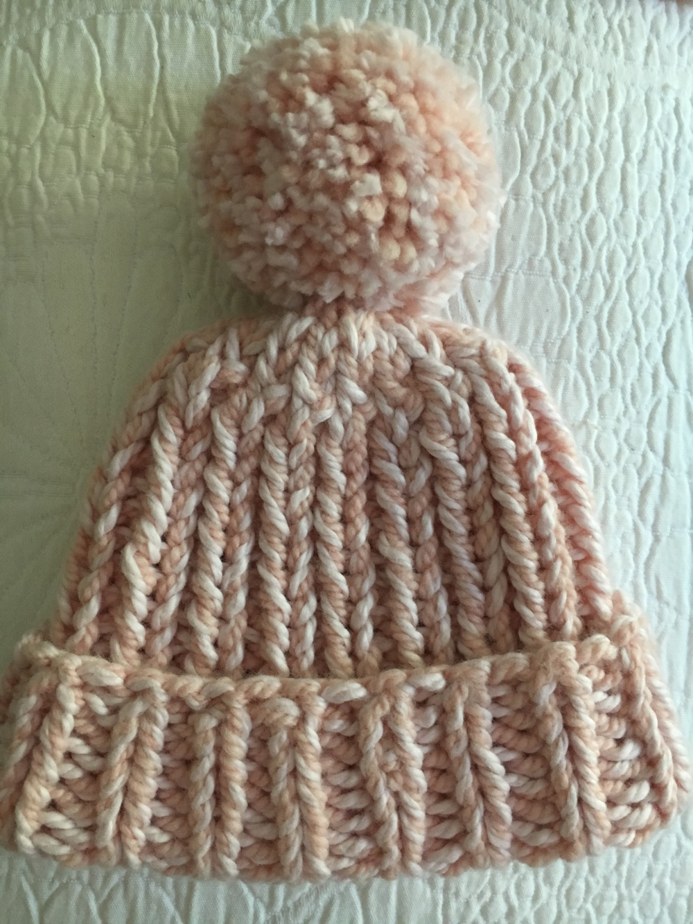 """Pink """"snow day"""" hat for baby girl"""