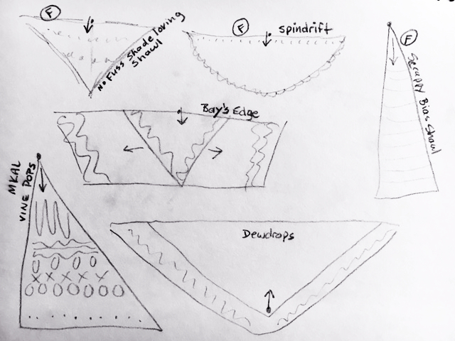 drawing of various types of shawls and their shapes when finished