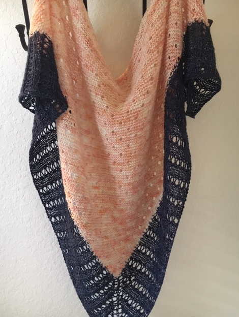 Dewdrops shawl in peach and dark blue colors.