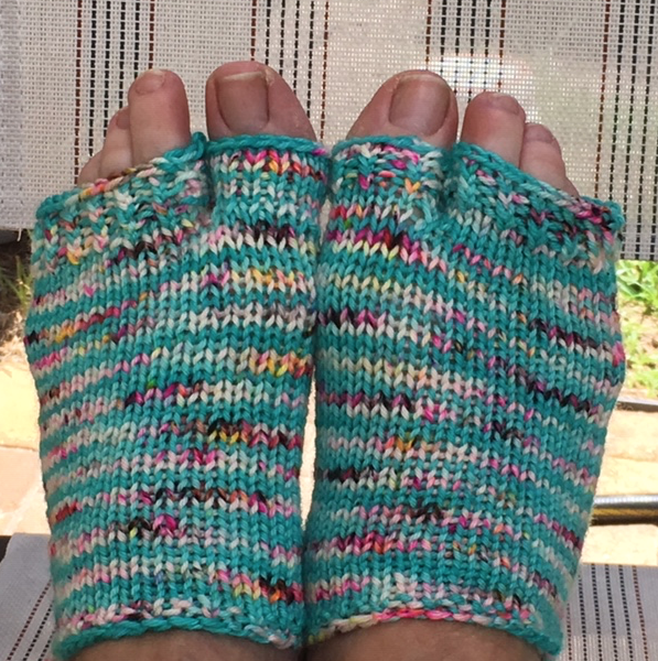 Wearing flip flop socks knit by me.