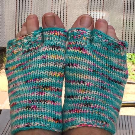 Wearing flip flop socks knit by me.