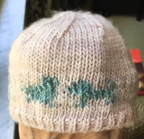Faded baby hat in Mad Tosh merino light, after washing