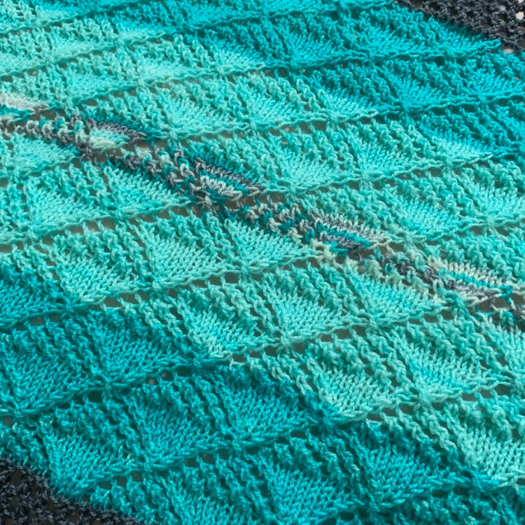 Aqua blue Quince Shawl knitting