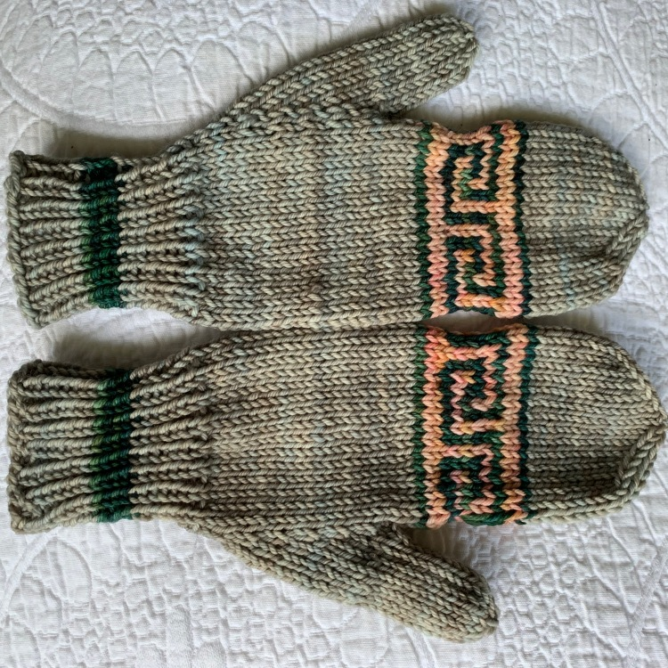 pair of mittens with greek key