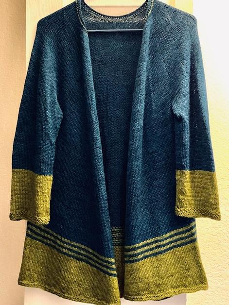 long-sleeve hand-knit sweater
