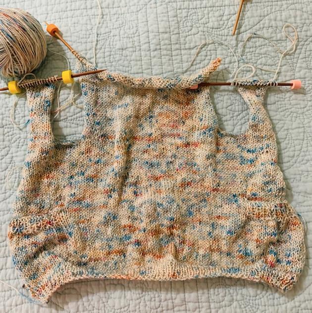 Playdate sweater knitting in progress