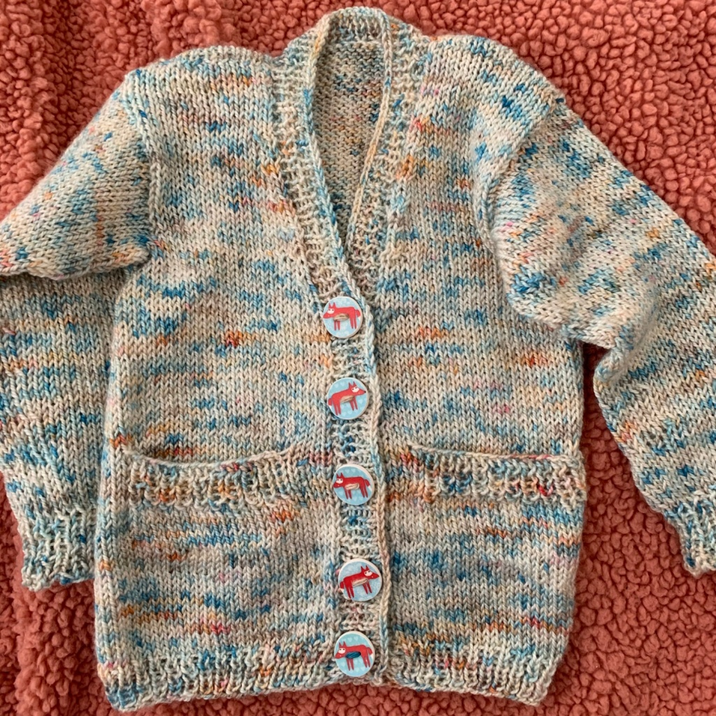 Fox buttons on baby sweater