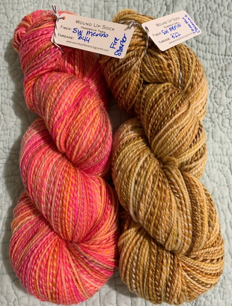 Pink and tan handspun yarn