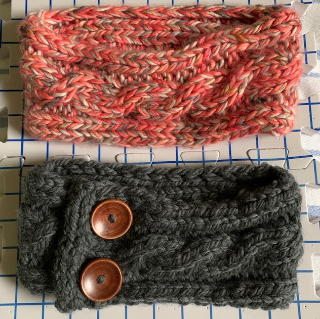 Drying two bulky knit headbands