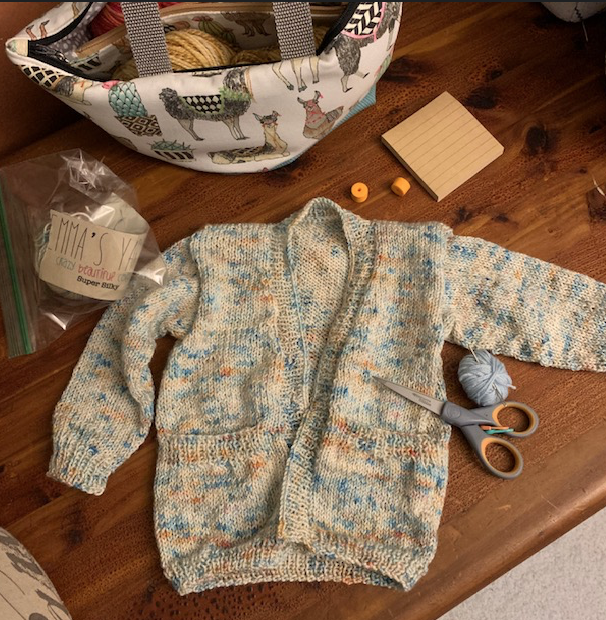 Baby sweater, Playdate cardigan all knit and waiting on the buttons.