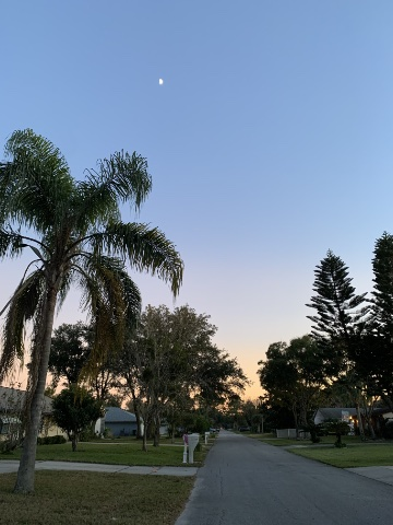 Evening walk in Florida neighborhood