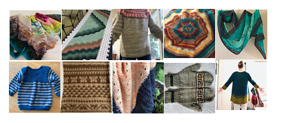 Photo grid of my finished knitting projects in 2019