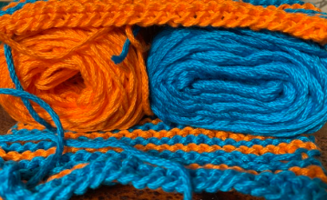 bright orange blue cotton knitting yarn