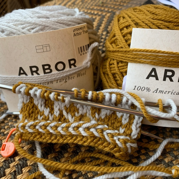 Arbor yarn mitten knitting project