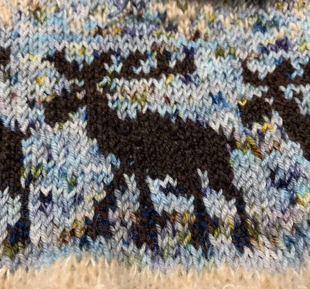 Moose colorwork knitting
