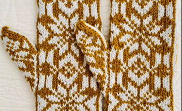 Gold and white hand knit mittens