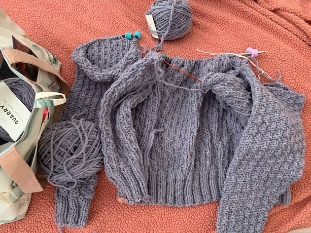 Knitting the Oxbow cardigan sweater